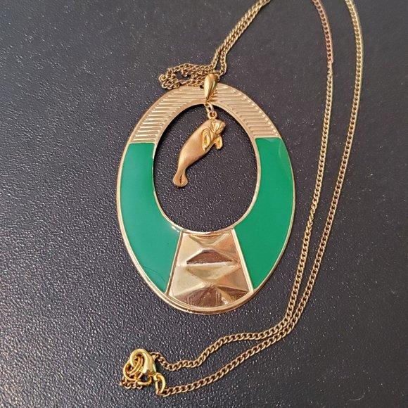 """20"""" Gold Green Tone Oval Pendant Necklace Manatee"""